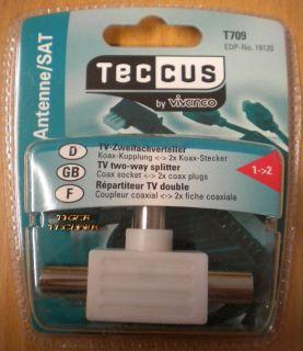 Teccus Video TV 2-fach Zweifachverteiler Koax-Kupplung - 2x Koax-Stecker* so74