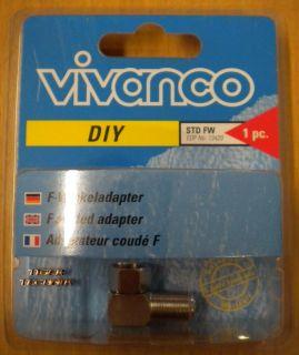 Vivanco DIY F-Winkeladapter F-Stecker F-Buchse aus Metall hohe Qualität* so77