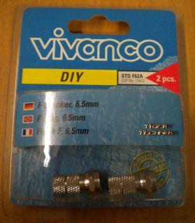 Vivanco DIY SAT 2 Stück 2x F-Stecker für Koax-Kabel 6,5mm* so78