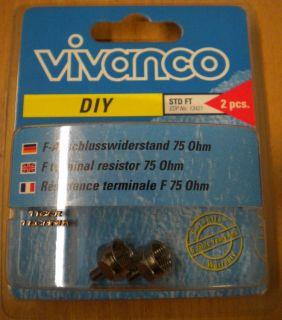 Vivanco DIY SAT 2 Stück 2x F-Abschlusswiderstand 75 Ohm hohe Qualität* so79