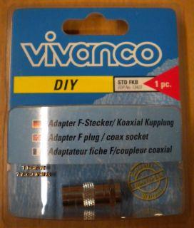 Vivanco DIY SAT Adapter F-Stecker Koaxial Kupplung aus Metall hohe Qualität*so80