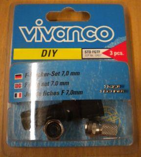 Vivanco SAT F-Stecker Außenmontage Set 3-Teilig 2x F-Stecker 7mm Gummitülle so81