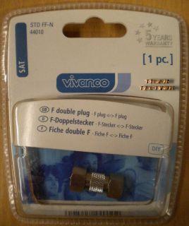 Vivanco DIY SAT F-Doppelstecker Metall hohe Qualität* so83