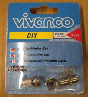 Vivanco SAT Kabelverbinder-Set 3-Teilig 2x F-Stecker 1x F-Doppelkupplung* so89