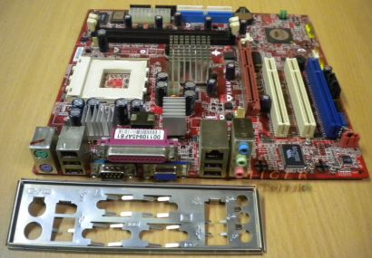 MSI KM4M-L MS-6734 Ver1 Mainboard +Blende Sockel A 462 FSB333 VGA LAN Audio*m120