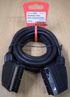 Vivanco 21-pol SCART Kabel 3m Stecker-Stecker für Video TV DVD DVB-T *so123