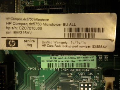 HP dc 5750 SP 432861-001 M2RS485 BTX Mainboard AMD Socket AM2 + Blende* m161