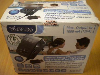 Vivanco NL 1001 XR USB Universalnetzteil 3/4.5/5/6/7.5/9/12V* nt714