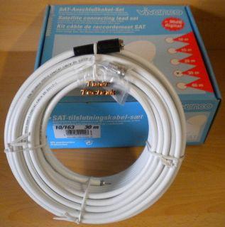 Vivanco SAT Anschlusskabel Set 30m F-Stecker weiß 90dB High Quality *so226