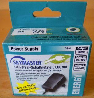 Skymaster Universal-Schaltnetzgerät 3V 4,5V 5V 6V 7,5V 9V 12V 600mA* nt719