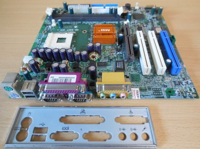 MSI MS-6507 Ver 1 Mainboard +Blende Sockel 478 Intel 845 AGP PCI USB Audio* m191