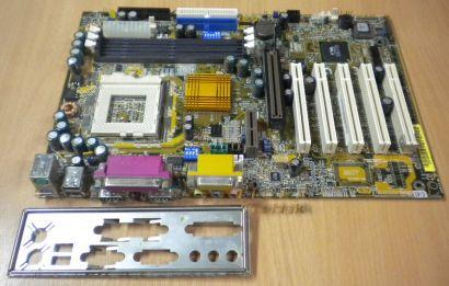 Gigabyte GA-6VX7-4X Rev. 3.2 Mainboard Sockel 370 AGP PCI + Blende* m196