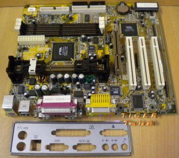 Biostar M6VBE-A Ver. 1.1 Mainboard 2x Seriell 1x Parallel + Blende* m242