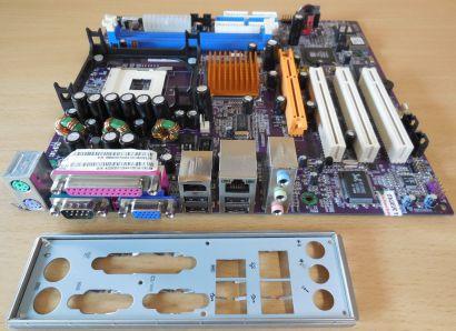 ECS Elitegroup SF2/661FX Rev1.1 Mainboard + Blende Sockel 478 VGA LAN DDR* m419