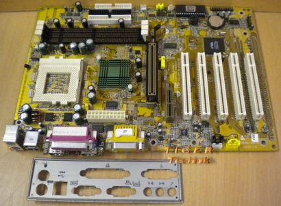 Biostar M6VCG Rev. 1.2 Mainboard So. 370 AGP AMR PCI 2x Seriell + Blende* m281