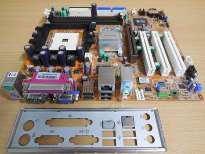 Leadtek WinFast 760M02-GX-6LRS Mainboard Sockel 754 AGP PCI + Blende* m290
