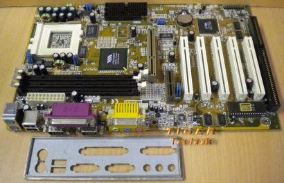 Tekram P5M3-A+ Rev. 1.01 Mainboard Sockel 7 AGP AMR PCI ISA + Blende* m296