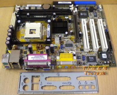 Asus P4SDR-VM Mainboard Sockel 478 AGP PCI VGA LAN Seriell + Blende* m307