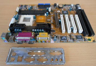 ECS Elitegroup P6BAT-A+ Rev 2.2 Mainboard +Blende Sockel 370 o. Slot 1 ISA* m314