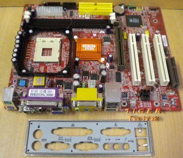 MSI MS-7005 Ver. 1 Mainboard Sockel 478 AGP PCI CNR VGA LAN + Blende* m339