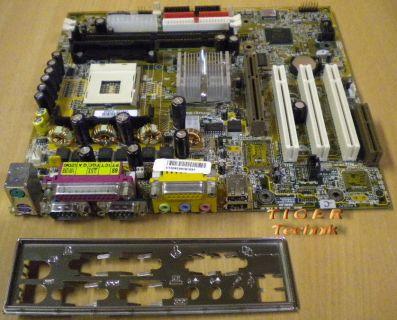 Gigabyte GA-8IDML Rev. 2.0 Mainboard Sockel 478 AGP PCI CNR USB + Blende* m343