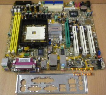 Leadtek WinFast 760M01-GX-6LRS Mainboard Sockel 754 AGP PCI + Blende* m348
