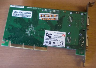 Matrox G450 G45+MDHA16D Grafikkarte AGP 16MB Dual Head VGA* g15