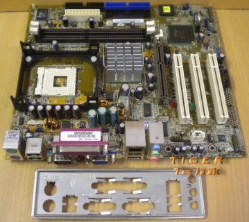 Asus P4GE-VM Rev. 1.02 Mainboard Sockel 478 AGP PCI VGA LAN + Blende* m400