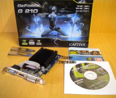 Captiva NVIDIA GeForce G210 Passiv Leise DDR3 1GB PCI-Ex16 VGA DVI HDMI* g200