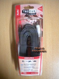 Teccus by Vivanco Verbindung 2x Chinch - Klinke 3,5mm 10m Länge *so252