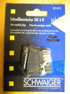 Schwaiger Schnellbaustecker TAE 6 N mit Knickschutz ohne Löten und Crimpen*so301