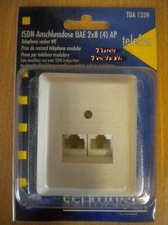 Schwaiger TDA 1339 Aufputz ISDN Anschlussdose UAE 2x8 (4) Western RJ45 *so314