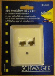 Schwaiger ISDN Anschlussdose UAE 2x8 (4) schaltbarem Anschlusswiederstand*so320