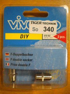Vivanco DIY SAT F-Verbinder Doppelbuchse 2x Stück aus Metall hohe Qualität*so340
