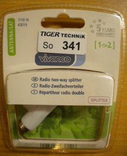 Vivanco Radio 2-fach Splitter Zweifachverteiler Koax-Stecker 2xKoax-Buchse*so341