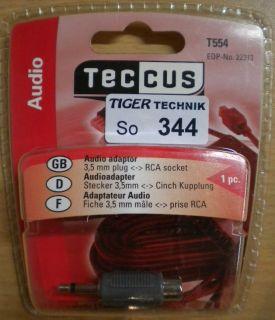 Teccus by Vivanco Audio Adapter Mono Klinke Stecker 3,5mm - Cinch Buchse *so344
