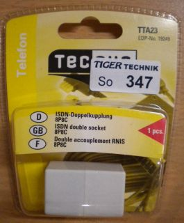 Teccus by Vivanco Telefon ISDN Doppelkupplung 8P8C RJ45 - RJ45 weiß* so347