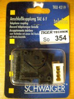 Schwaiger TKU 4219 Telefon Anschlusskupplung TAE 6 F mit Knickschutztülle *so354