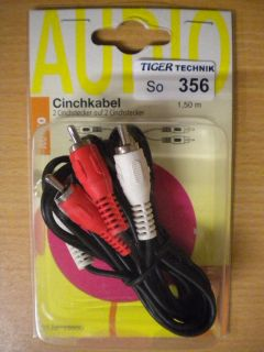 BigBalloon Audio Cinch Kabel 1,5m 2x Cinch Stecker - 2x Cinch Stecker* so356