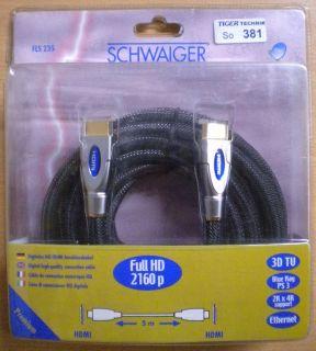 Schwaiger 2160p Full HD HDMI Kabel 5m 4K 3D TV BlueRay PS3 Ethernet *So381