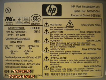 HP PS-5301-08HP HP Part Nr 366307-001 HP Spare Nr 366505-001 300 Watt* nt310