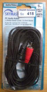 Skymaster Klinke Cinch Adapter Kabel 5m 2x Cinch St.- Klinke 3,5mm Stecker*so418