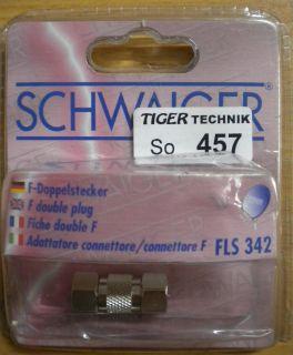 Schwaiger FLS 342 F-Doppelstecker hochwertige Ausführung aus Metall * so457