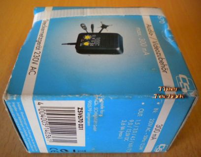 CS ZSV 670 Steckernetzgerät 230V AC 300mA * nt720
