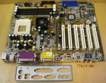 Enmic 8TCX2+ Rev2.0 Mainboard +Blende Sockel A 462 VIA KT266A PCI Audio DDR*m565