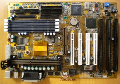 Gigabyte GA-6BXS Rev 1.5 Mainboard +Blende 3x ISA Slot 1 Intel 440BX SCSI* m579