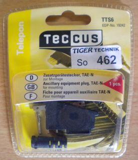 Teccus by Vivanco Zusatzgerätestecker zur Montage TAE-N Telefon Stecker* so462