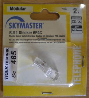 Skymaster 2x RJ11 Universal Modular Stecker 6P4C DIY zur Selbstmontage* so465