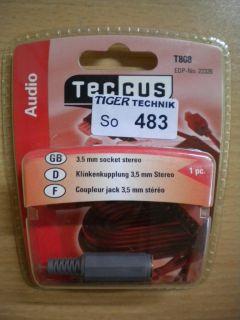 Teccus by Vivanco T808 Audio Klinkenkupplung 3,5mm stereo Klinke Kupplung* so483