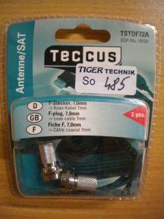 Teccus by Vivanco SAT Video 2 Stück 2x F-Stecker für Koax-Kabel 7mm* so485